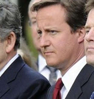 Los tres principales candidatos: Gordon Brown, David Cameron y Nick Clegg