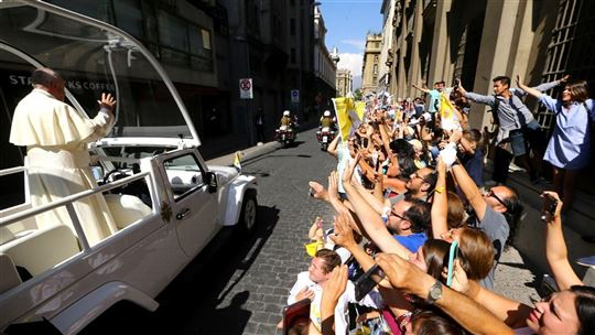 El Papa Francisco en la capital chilena